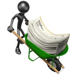 Carrying Blank Checks In A Wheelbarrow