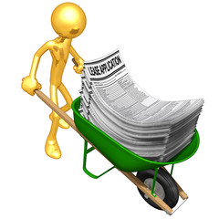 Gold Guy Carrying Lease Applications In A Wheelbarrow