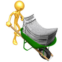Gold Guy Carrying Employment Classifieds In A Wheelbarrow
