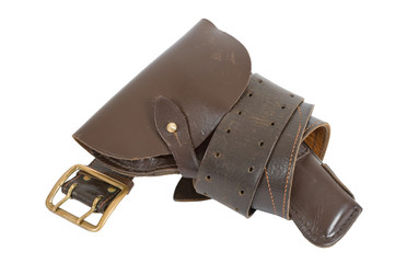 Belt and holster on white background