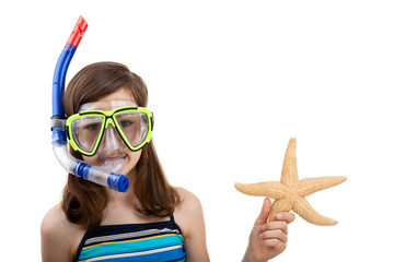 Girl ready to swimm and dive isolated on white