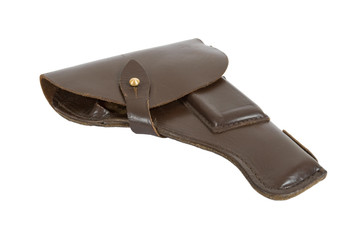 Old Russian army holster on white background