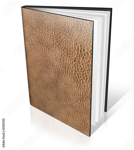 old leather book isolated on white with reflection