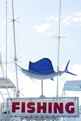 Blue sailfish over fishing copy text on florida