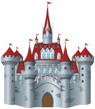 Fototapety Fairy-tale castle on white background.