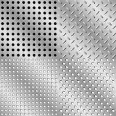 Seamless steel background collection. Vector illustration.