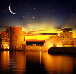 beautiful old castle at night in middle-east , lebanon, sidon