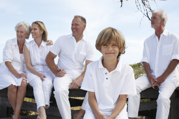 Boy with his family
