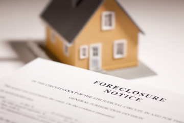 Foreclosure Notice and Model Home on Gradated Background