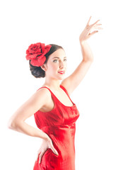 Beautiful flamenco dancer in red dress