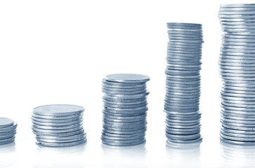Few coin columns isolated on white, image in blue tone
