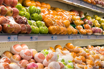 Fresh fruits in a hypermarket