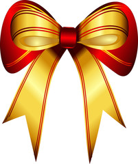 Bright shiny gold red gift bow isolated white background vector