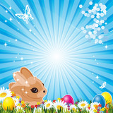 Fototapety Easter bunny and  Easter eggs