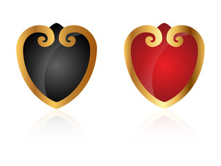 Ornamental golden hearts