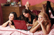 three teenage girls having fun