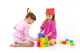 Kids playing with constructor poster