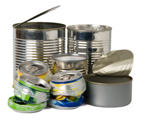 Cans and tins prepared for recycling