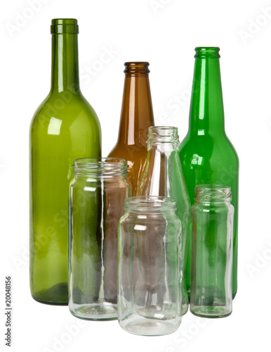 Glass bottles prepared for recycling - 20048156