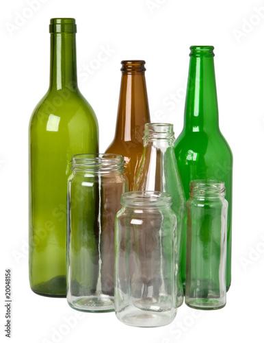 Leinwandbild Motiv Glass bottles prepared for recycling