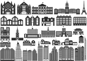 simple vector buildings, including famous