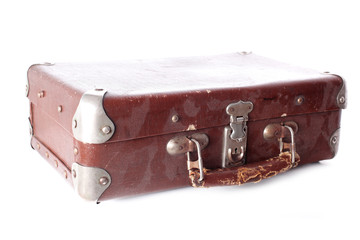 old dusty brown leather suitcase