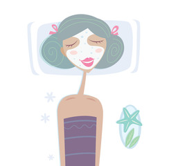 Spa - Girl with facial sea mask. Vector illustration.