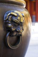 Close up of bronze water vat - taken this in forbidden city