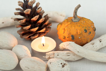 Candle and pumpkin