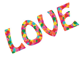 Love word made from flowers