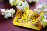 Ticket stub for Special Event with popcorn poster