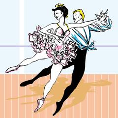 Beautiful ballet dancer ballerina vector illustration