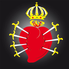 Vector illustration of the sacred heart of Virgin Mary