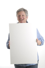 Woman with white sign