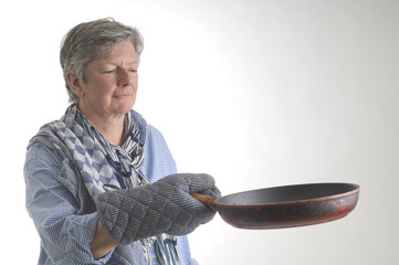 woman with pan
