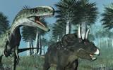 Prehistoric Scene with Dinosaurs 2 - 3D render poster