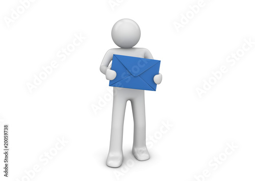 You have new mail (3d isolated characters series)