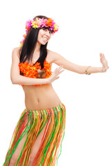 Woman dancing in costume made of flowers