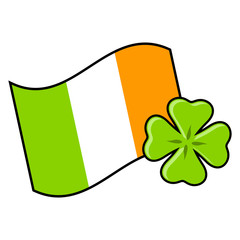 Irish flag with four leaf clover over white