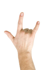 Horns hand sign isolated on white background