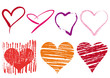 scribble hearts set, vector
