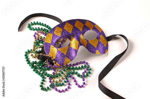 canvas print picture Mardi Gras Mask and Beads