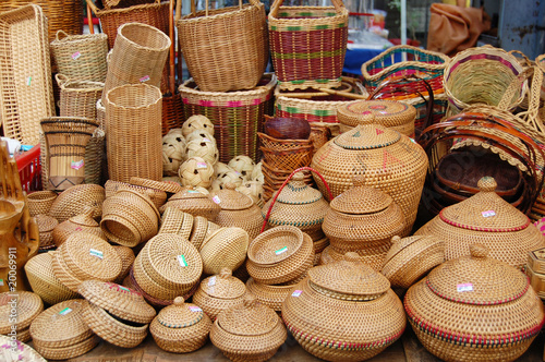 lot of Asian traditional hand crafted bamboo products