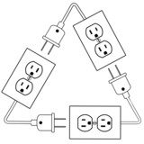 Electrical outlets plug recycle renewable electric energy poster