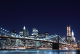 Brooklyn Bridge and Manhattan Skyline At Night, New York City-