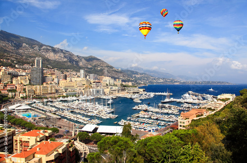 Aerial view of Monaco harbor