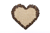 Heart. Sackcloth and coffee beans