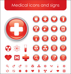 Collection of red medical themed icons and warning-signs