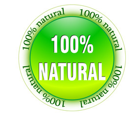 100% natural web glossy icon vector illustrated