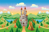 Fototapety Panorama with medieval castle. Cartoon and vector illustration